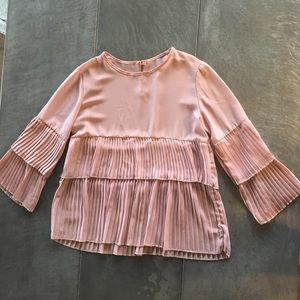 ZARA dusty rose blouse with pleated detail.